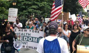 Protestors Gather at New York City Hall to Oppose Vaccine Passport