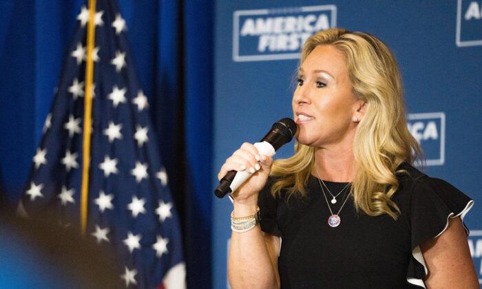 "U.S. Rep. Marjorie Taylor Greene (R-Ga.) speaks at an ""America First"" Rally in Dalton, Ga., on May 27, 2021. (Megan Varner/Getty Images)"