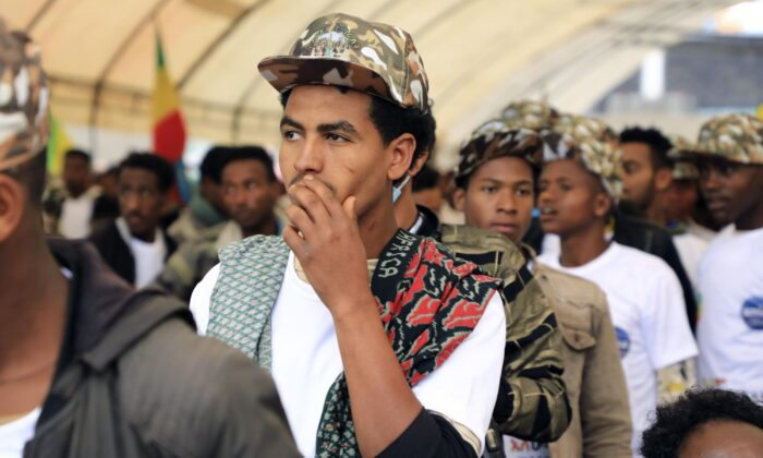 Youth joining the Ethiopian National Defense Force are escorted to Meskel Square in the capital Addis Ababa, Ethiopia on July 27, 2021. (AP Photo/File)