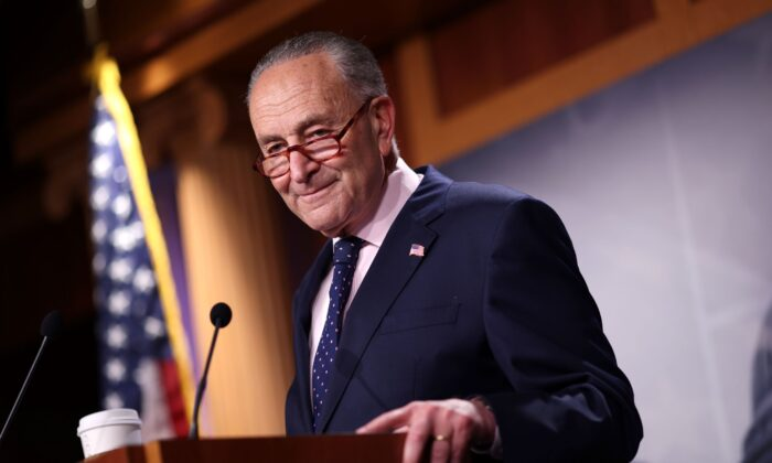 Senate Majority Leader Charles Schumer (D-N.Y.) speaks on the passage of the bipartisan infrastructure bill, during a news conference at the U.S. Capitol in Washington, on Aug. 11, 2021. (Kevin Dietsch/Getty Images)