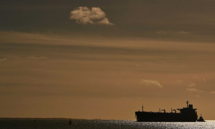 The oil tanker SARPEN arrives at Southampton Container Port, Southampton Docks in Southampton, southern England, on March 21, 2017. (Glyn Kirk/AFP via Getty Images)