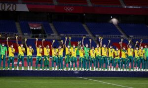 Brazilian Soccer Team Declines to Wear Chinese-Sponsored Tops at Tokyo Olympics Gold Medal Ceremony
