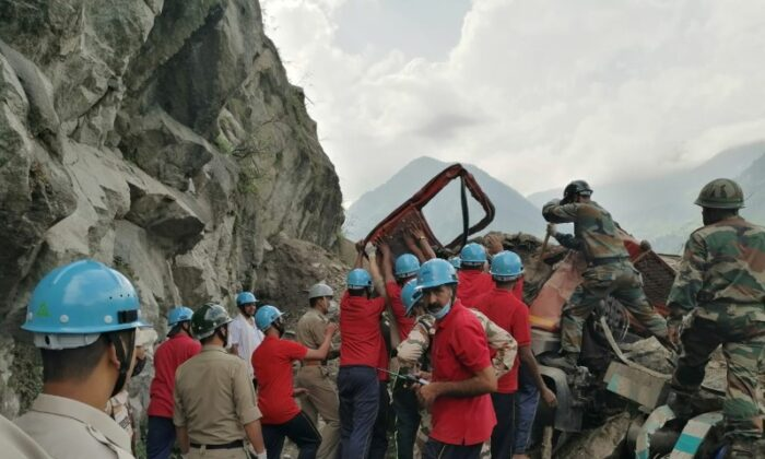 Indo-Tibetan Border Police (ITBP) rescue operation at the site of a landslide in Kinnaur district