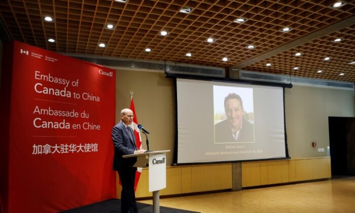Jim Nickel, Charge d'affaires of the Canadian Embassy in Beijing, speaks at the embassy in Beijing as a court in Dandong rules on the case of Michael Spavor, charged with espionage in June 2019, in China, on Aug. 11, 2021. (Florence Lo/Reuters)