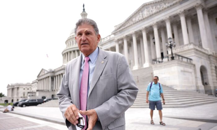 Sen. Joe Manchin (D-WV) leaves the U.S. Capitol following a vote in Washington, DC., on Aug. 03, 2021. (Kevin Dietsch/Getty Images)