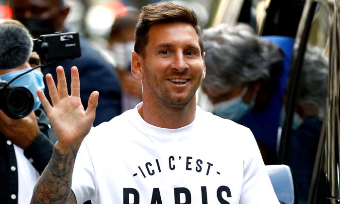 Argentinian soccer player Lionel Messi arrives at the Monceau hotel in Paris, France, on Aug. 10, 2021. (Sameer Al-Doumy/AFP via Getty Images)