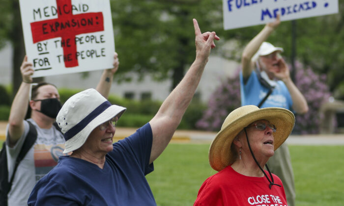 A Medicaid expansion rally at the Missouri State Capitol in Jefferson City on April 27, 2021. (Liv Paggiarino/The Jefferson City News-Tribune via AP File)