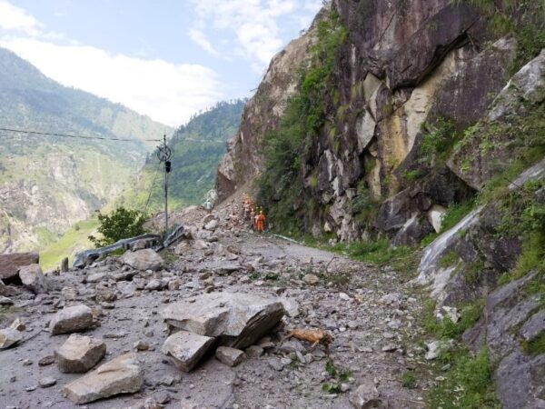 National Disaster Response Force search for survivors at the site of a landslide in Kinnaur district
