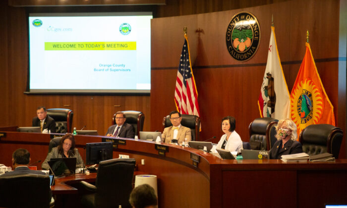The Orange County Board of Supervisors listens to Orange County residents at the Aug. 10, 2021, meeting in Santa Ana, Calif. (John Fredricks/The Epoch Times)