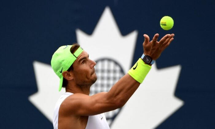 Rafael Nadal of Spain prepares to serve as he practices on a day off before playing in the National Bank Open at Aviva Centre, in Toronto, Canada, on Aug. 10, 2021. (Dan Hamilton/USA TODAY Sports via Reuters)