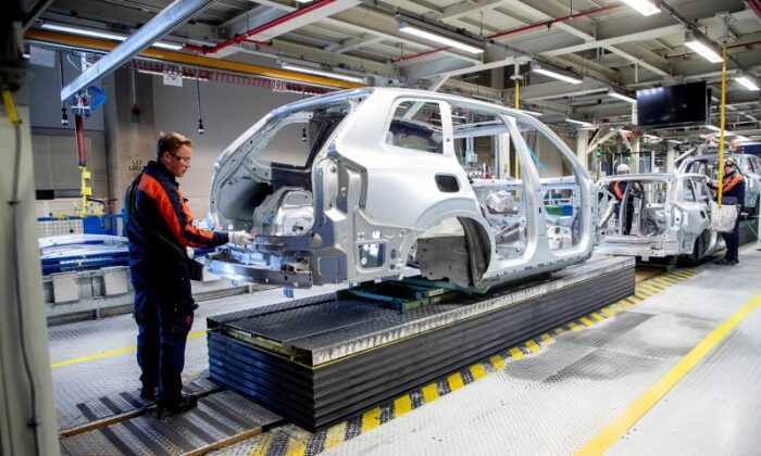 Inside view of a Volvo Cars factory in Torslanda, Gothenburg, Sweden, on April 17, 2020. (Adam Ihse/TT News Agency/via Reuters/File photo)