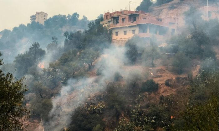 Smoke rises from a forest fire in the mountainous Tizi Ouzou province, east of the Algerian capital, Algiers on Aug. 10, 2021. (Abdelaziz Boumzar/Reuters)