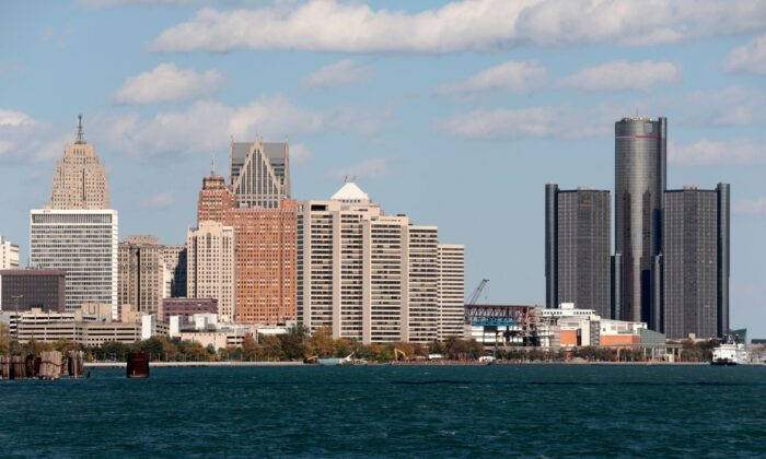 The Detroit skyline seen from Riverside Park in Detroit on Oct. 23, 2019. (JEFF KOWALSKY/AFP via Getty Images)
