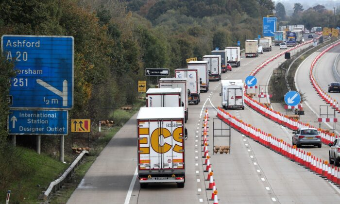 Lorries on the road in an undated file photo. (Gareth Fuller/PA)