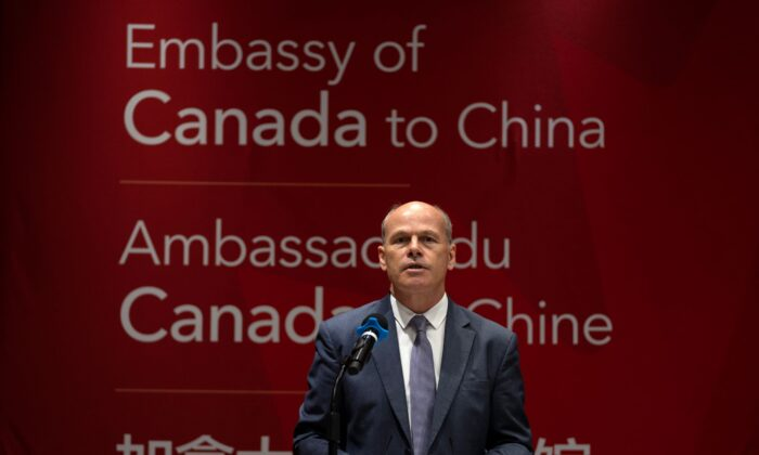 Jim Nickel, the deputy chief of mission for the Canadian Embassy in China, speaks at an event held in connection with the announcement of the sentence for Canadian citizen Michael Spavor at the Canadian Embassy in Beijing on Aug. 11, 2021. (AP Photo/Mark Schiefelbein)