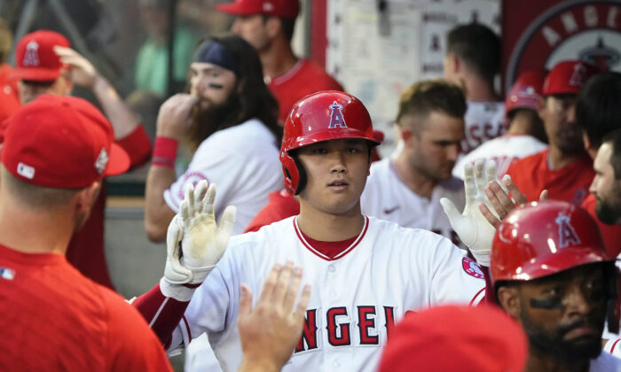 Los Angeles Angels' Shohei Ohtani celebrates his two-run home run with teammates in the dugout during the third inning of a baseball game against the Toronto Blue Jays, in Anaheim, Calif., on Aug. 11, 2021. (AP Photo/Marcio Jose Sanchez)