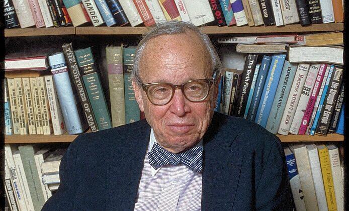 Arthur Schlesinger, an American historian-biographer, is seen in his office in New York City on April 21, 1988. (Bernard Gotfryd via Wikimedia Commons)