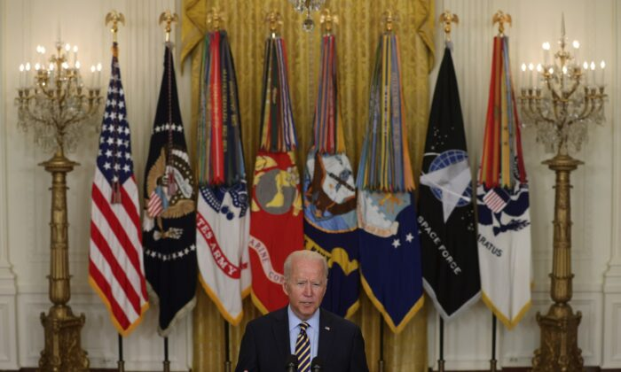 President Joe Biden speaks on troop withdrawal from Afghanistan at the White House on July 8, 2021. (Alex Wong/Getty Images)