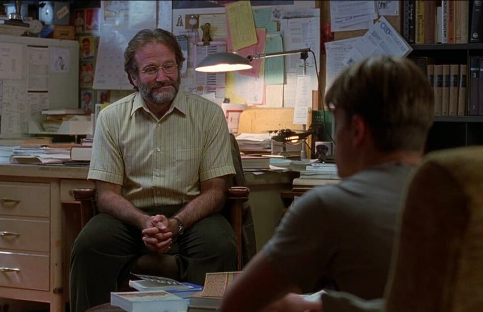 two in men sitting in a room in GOOD WILL HUNTING