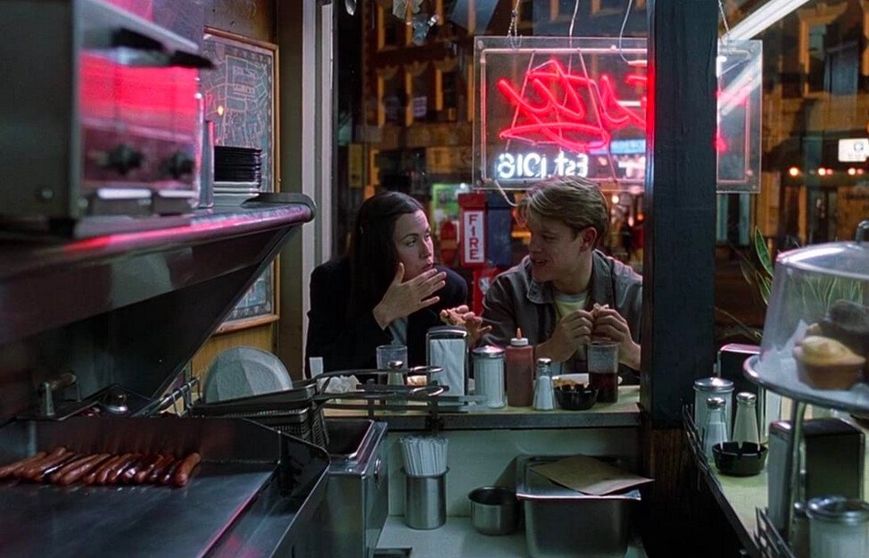 man and woman at a diner in GOOD WILL HUNTING