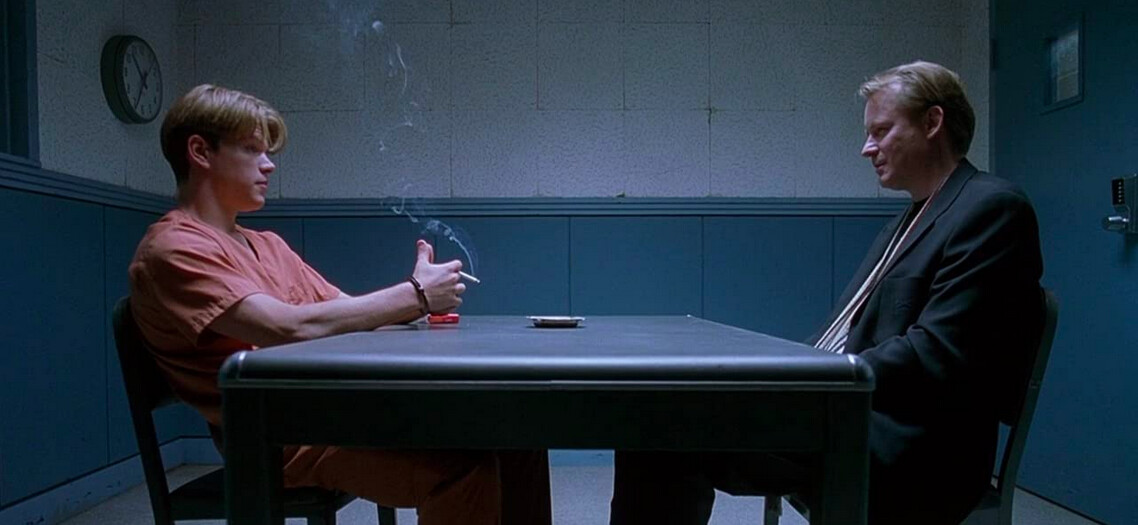 two men in interrogation room in Good Will Hunting