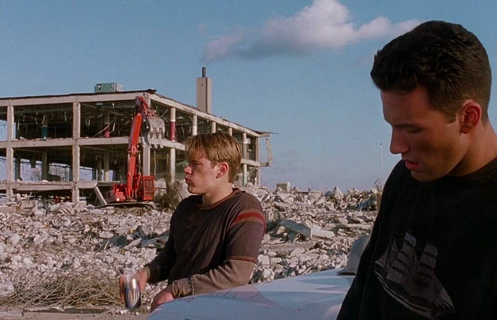 two men on construction site in GOOD WILL HUNTING