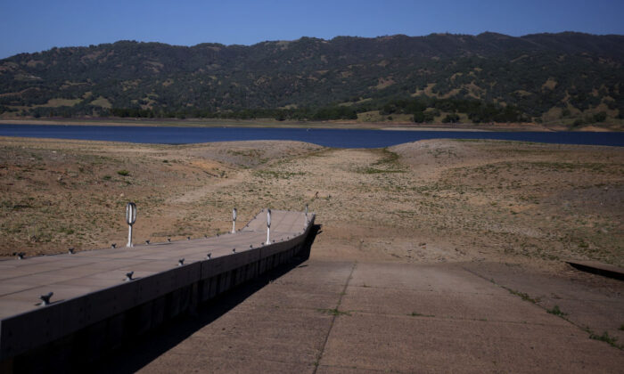 A boat dock sits on dry ground far from the water at Lake Mendocino in Ukiah, Calif., on April 22, 2021. (Justin Sullivan/Getty Images)