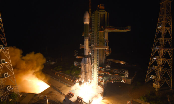 The Geosynchronous Satellite Launch Vehicle (GSLV-F10) carrying EOS-03, an Earth Observation satellite, taking off from Satish Dhawan Space Center in Sriharikota, India, on Aug. 12, 2021. (Indian Space Research Organization via AP)