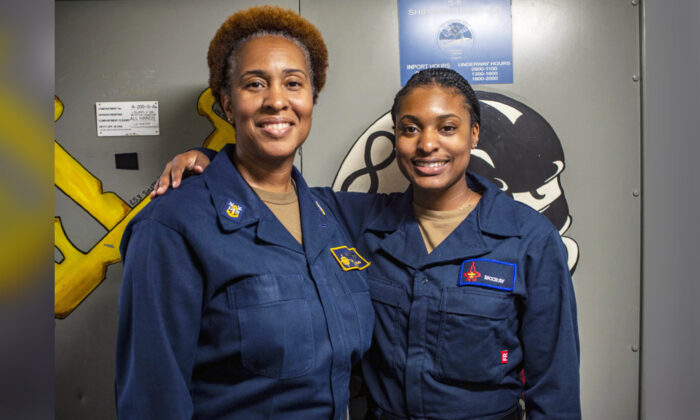 Master Chief Logistics Specialist Tanya McCray (L) with her daughter, Logistics Specialist Seaman Racquel McCray. (Courtesy of Gary Prill via DVIDSHUB)