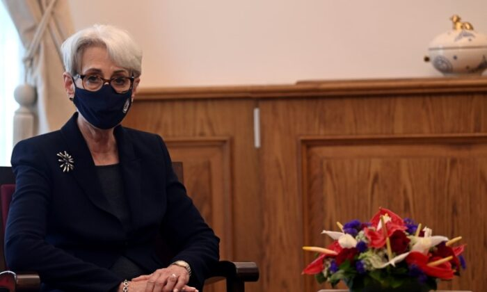 U.S. Deputy Secretary of State Wendy Sherman is seen during her visit to the Orthodox Patriarchate in Istanbul, Turkey, on May 29, 2021. (Ozan Kose/Pool via Reuters)