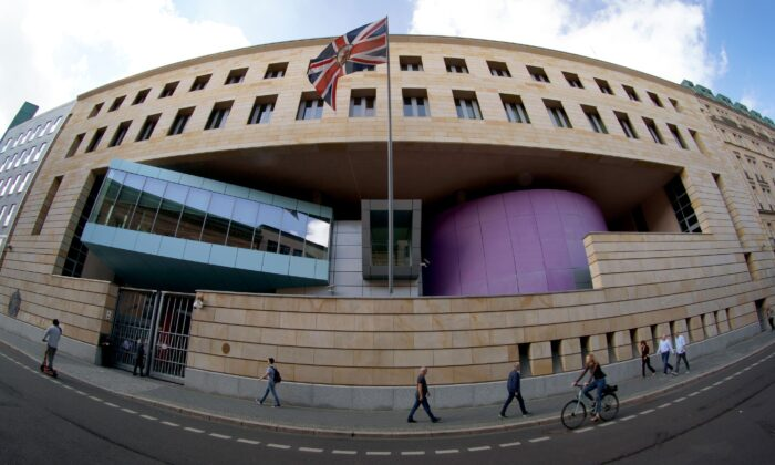 Exterior view of the British embassy in Berlin, in an undated file photo. (Michael Sohn/AP)