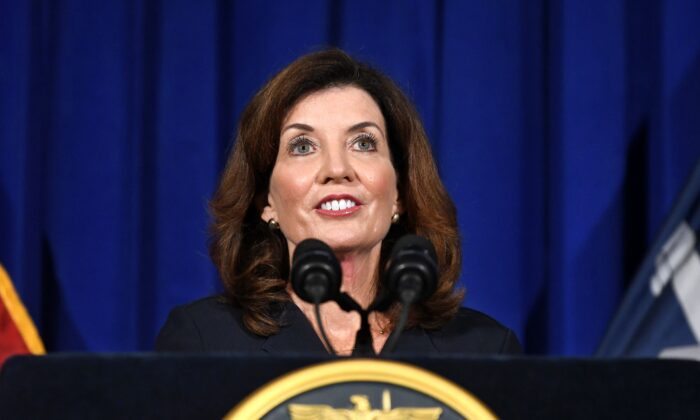 New York Lt. Gov. Kathy Hochul gives a news conference at the state Capitol, in Albany, N.Y., on Aug. 11, 2021. (Hans Pennink/AP Photo)