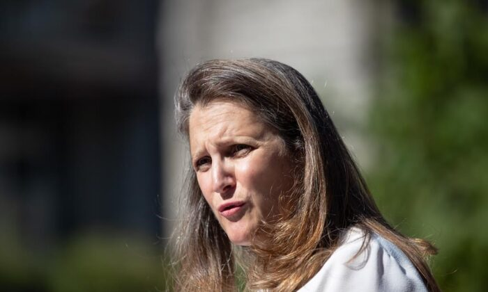 Chrystia Freeland, Deputy Prime Minister and Minister of Finance, responds to questions after a social housing funding announcement in the Downtown Eastside of Vancouver, on July 28, 2021. (The Canadian Press/Darryl Dyck)