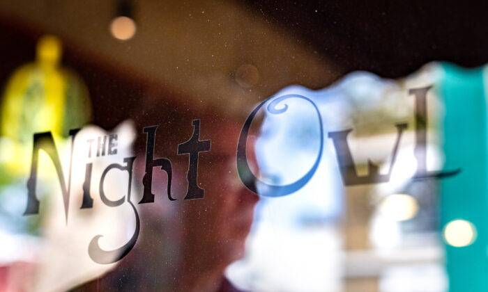 The Night Owl Coffeeshop owner Joe Rosati stands in his coffee shop in Fullerton, Calif., on Aug. 12, 2021. (John Fredricks/The Epoch Times)