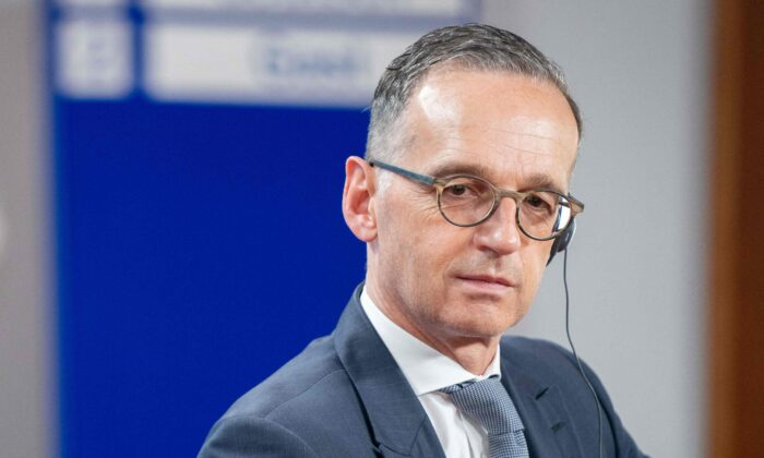 German Foreign Minister Heiko Maas gives a press statement at the Foreign ministry in Berlin, Germany, on June 25, 2021. (Kay Nietfeld/Pool/AFP via Getty Images)