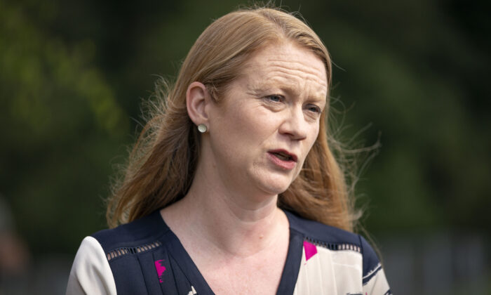 Scottish Education Secretary Shirley-Anne Somerville speaks to the media during a visit to Lochgelly High School in Lochgelly, Fife, on Aug. 10, 2021. (Jane Barlow/PA)