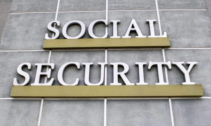 A sign is seen outside a United States Social Security Administration building in Burbank, Calif., on Nov. 5, 2020. (Valerie Macon/AFP via Getty Images)