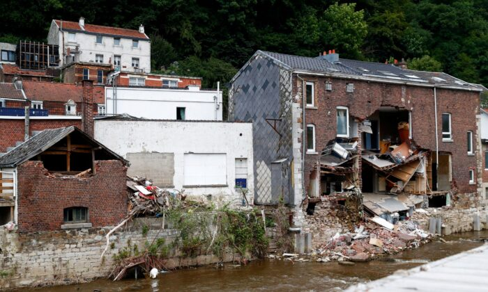 A building is destroyed after heavy rainfall in Pepinster, Belgium, on Aug. 9, 2021. (Johanna Geron/Reuters)