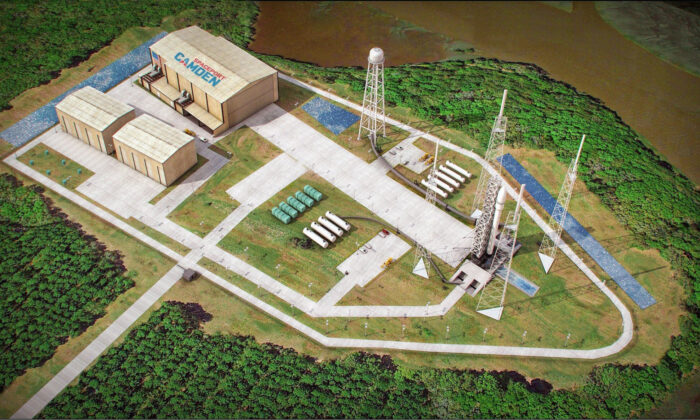 This artist's sketch provided by Spaceport Camden shows the launch pad complex of the proposed Spaceport Camden in Camden County, Ga. (Spaceport Camden via AP)