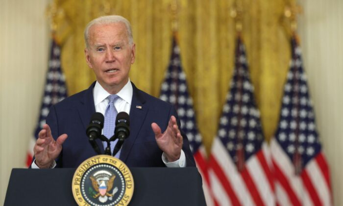 U.S. President Joe Biden delivers remarks during an East Room event at the White House in Washington on Aug. 12, 2021. (Alex Wong/Getty Images)