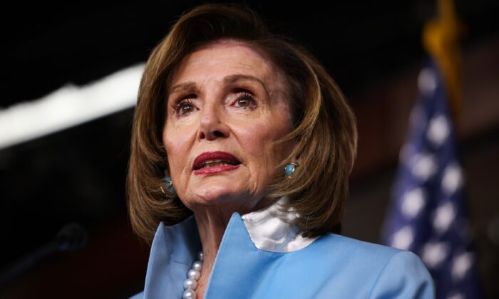 House Speaker Nancy Pelosi (D-Calif.) speaks at her weekly news conference at the Capitol building in Washington on Aug. 6, 2021. (Anna Moneymaker/Getty Images)