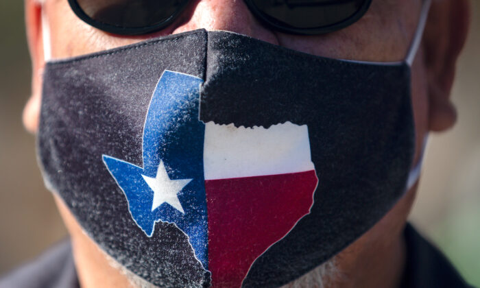 A man wears a Texas mask in Austin, Texas, on March 3, 2021. (Montinique Monroe/Getty Images)