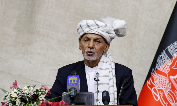 File photo showing Afghan President Ashraf Ghani speaking at the parliament in Kabul, Afghanistan, on Aug. 2, 2021. (Stringer/Reuters)