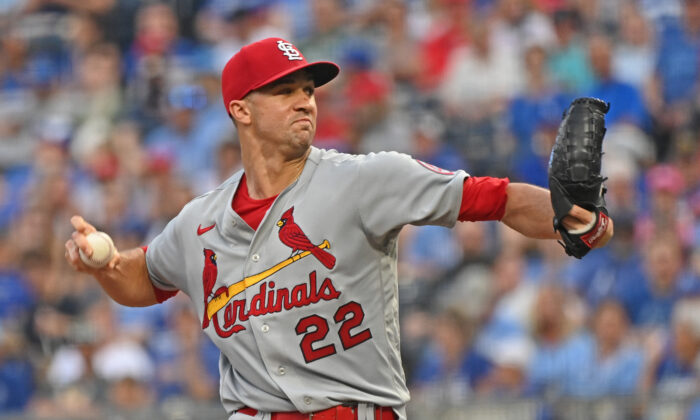 St. Louis Cardinals starting pitcher Jack Flaherty (22) delivers a pitch during the first inning against the Kansas City Royals at Kauffman Stadium, Kansas City, Missouri, on Aug. 13, 2021. (Peter Aiken/USA TODAY Sports)