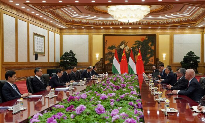 Chinese leader Xi Jinping meets Hungarian Prime Minister Viktor Orbán during the Second Belt and Road Forum at the Great Hall of the People in Beijing, China, on April 25, 2019. (Andrea Verdelli/Pool/Getty Images)