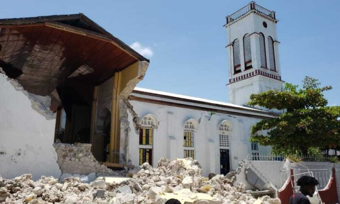 Sacred Heart church is damaged after an earthquake in Les Cayes, Haiti, Saturday, Aug. 14, 2021. (AP Photo/Delot Jean)