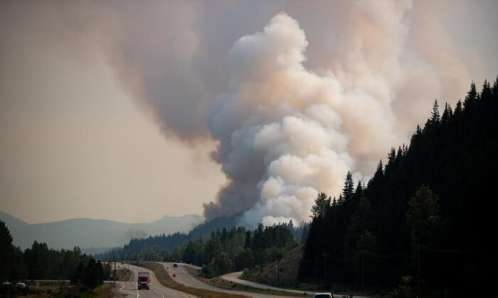 The July Mountain wildfire burns along the Coquihalla Highway south of Merritt, B.C., on Aug. 11, 2021. (The Canadian Press/Darryl Dyck)