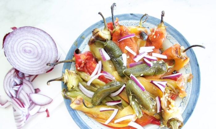 """A variety of colors, flavors, and heat levels make this roasted """"salad"""" exciting. (Victoria de la Maza)"""