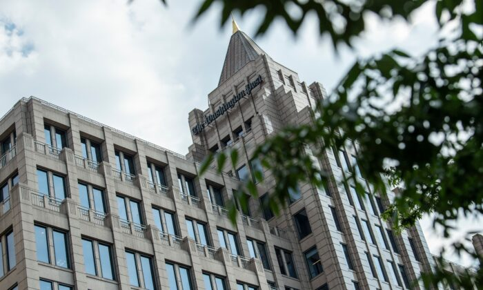 The building of the Washington Post newspaper headquarter is seen on K Street in Washington on May 16, 2019. (Eric Baradat/AFP via Getty Images)