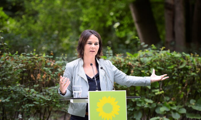 Co-leader of Germany's Green Party Annalena Baerbock, also candidate for chancellor of the Greens, in Biesenthal near Bernau, northeastern Germany, on Aug. 3, 2021. (Tobias Schwarz/Pool via Reuters)